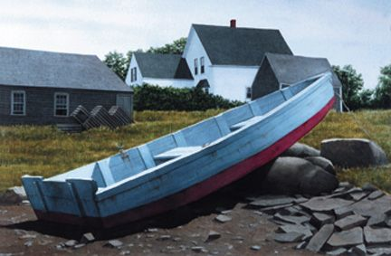 033 Blue Skiff, Cape Porpoise – Matted Card