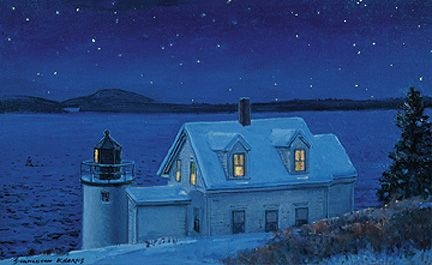 078 Lighthouse at Night – Matted Card