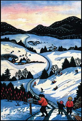 083 Afternoon Sledding – Matted Card