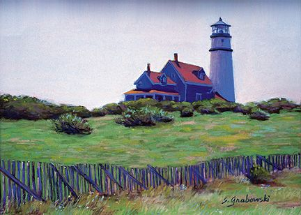 099 Early Morning Lighthouse – Matted Card