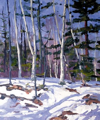 132 Winter Birches – Matted Card