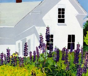 154 Island House with Lupines – Magnet