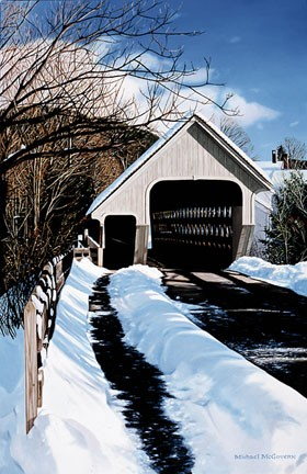 184 Middle Bridge, Winter – Matted Card