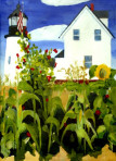 305 Pemaquid Light with Garden – Matted Card