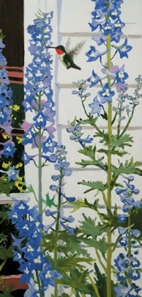309 Hummingbird and Delphinium – Matted Card