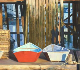 324 RED BOAT, WHITE BOAT – Matted Card