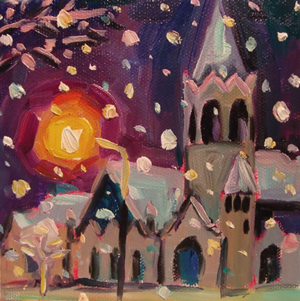 326 Evening Snow at the Bell Tower – Matted Card
