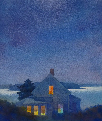 337 Yellow House at Night – Cards