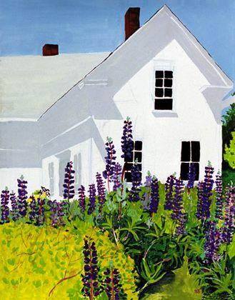 154 Island House With Lupines – Matted Card