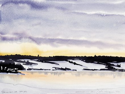 191 Winter, The River At Dawn – Matted Card
