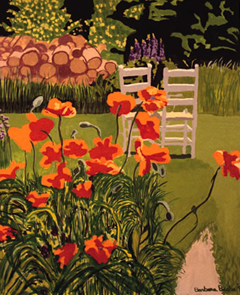 284 Poppies and Chairs – Matted Card