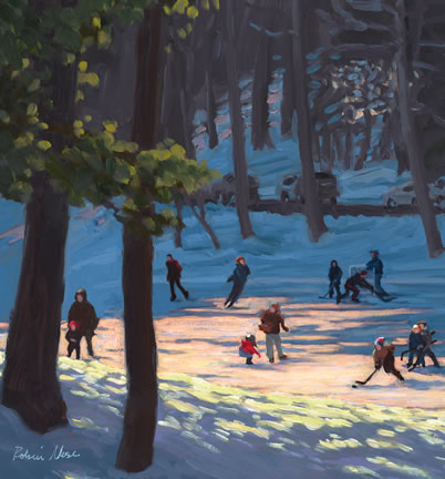304 Skaters on Occom Pond – Matted Card