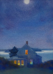 337 Yellow House at Night – Matted Card